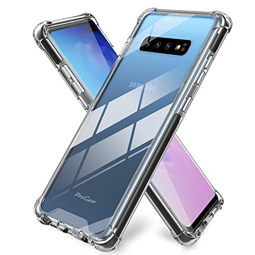 Procase Galaxy S10 Plus Case Clear, Slim Hybrid TPU Bumper Cushion Cover with Reinforced Corners, Crystal Scratch Resistant Rugged Cover Protective Case for Galaxy S10+ Plus 2019 -Black Frame
