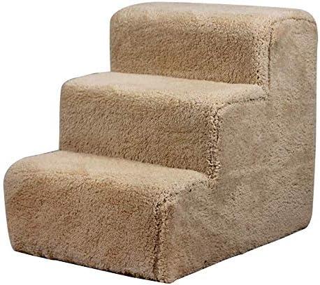 CMDDYY PET-Treppe, Baby-Treppe, Sofa 3 Schritte Hund Katzen Sind Hohe Betten, Fächer Rampen Für Betten, Sofas, Kleinere Und Ältere Hunde,Beige