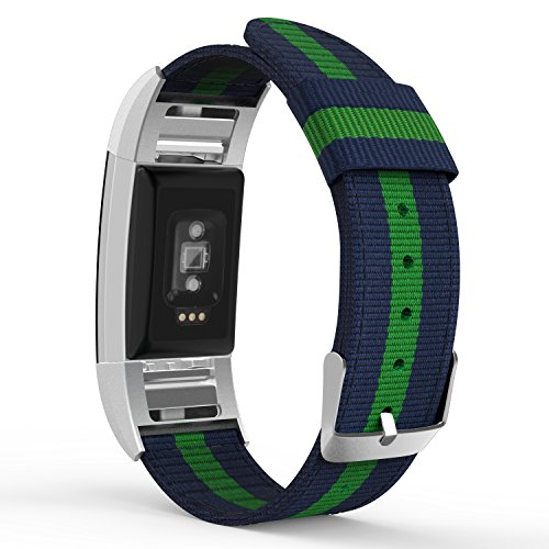 MoKo Fitbit Charge 2 Band , Fine Woven Nylon Adjustable Replacement Strap + Connector for 2016 Fitbit Charge 2 Heart Rate + Fitness Wristband, Wrist Length 5.39-8.66, Blue & Green