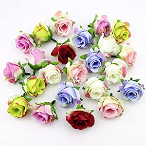 Artificial Flower Heads in Bulk Wholesale for Crafts Silk Rose Fake Flowers Head Scrapbooking Ball Wedding Home Decoration DIY Party Festival Decor Garland Gift Box Handmade 30pieces 4cm 34