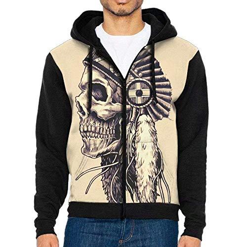 Mens Indian Skull Native American Full Zip Pullover Hoodie Hooded Sweatshirt Jacket Black