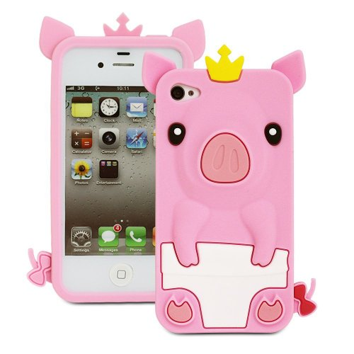 JiLee New 3D Pig Cartoon Animal Silicone Case Cover for iPhone 4 4G 4S -Pink(Random Gift 2 PCS Cartoon Sticker)