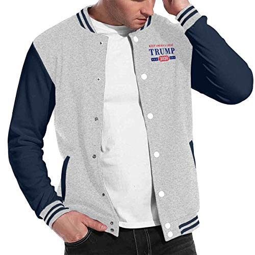 Shahuishahuiewdf Trump 2020 Chic Baseball Uniform Jacket Sport Coat Gray (Coogi Coats)