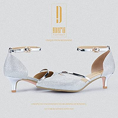 IDIFU Women's IN2 Maxine Sequins Mid Kitten Heels Closed Pointed Toe D-Orsay Party Sandal Low Heels Bridal Pump Wedding Shoes
