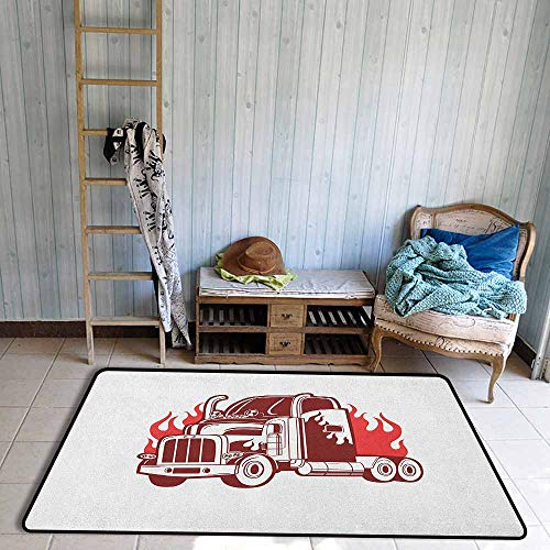 Fire Truck Hooked Rug - 7