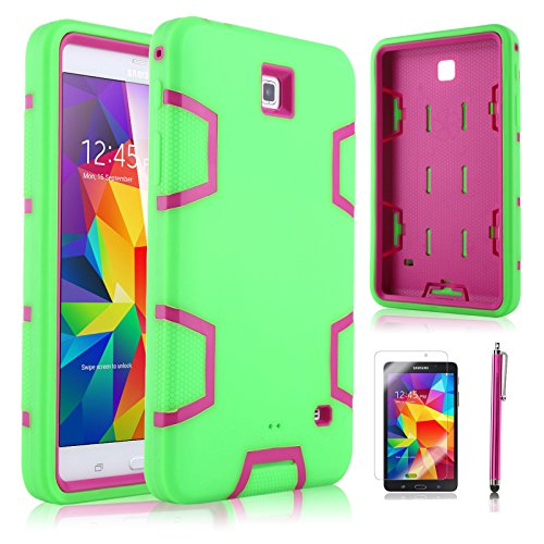 """Tab 4 7.0 Case, ULAK Samsung Galaxy 4 7.0 Case 3in1 Hybrid Shockproof Case for Samsung Galaxy Tab 4 7.0"""" T230 /T231/ T235 Galaxy Tab 4 Nook Dual Layer Armor Defender Full Body Protective Cover with Screen Protector + Stylus (Magenta+Green)"""