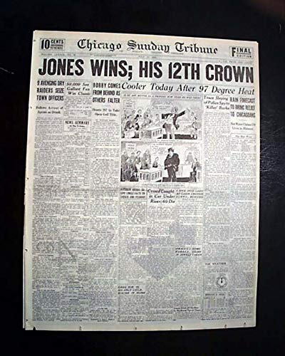 Great BOBBY JONES Golf U.S. Open Edina Minnesota GRAND SLAM Win 1930 Newspaper CHICAGO SUNDAY TRIBUNE, July 13, 1930