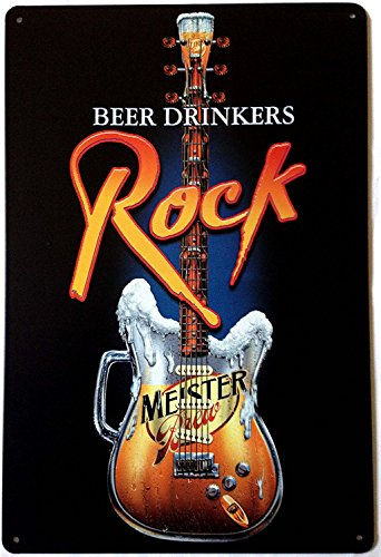 Sumik Beer Drinkers Rock Music Guitar, Metal Tin Sign,, used for sale  Delivered anywhere in Canada