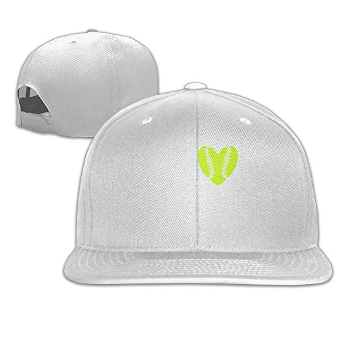 (Yishuo Men's My Heart Is On That Field Softball Classic Basketball White Cap Adjustable)
