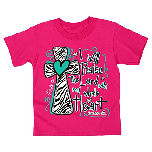 I Will Praise the Lord - Kidz Cherished Girl T-Shirt,Heliconia,Large