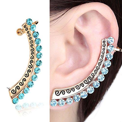 CIShop Blue Crystal Stud Earring Ear Cuff Ear Wrap 925 Sterling Silver Post(Hypoallergic, 1pcs)