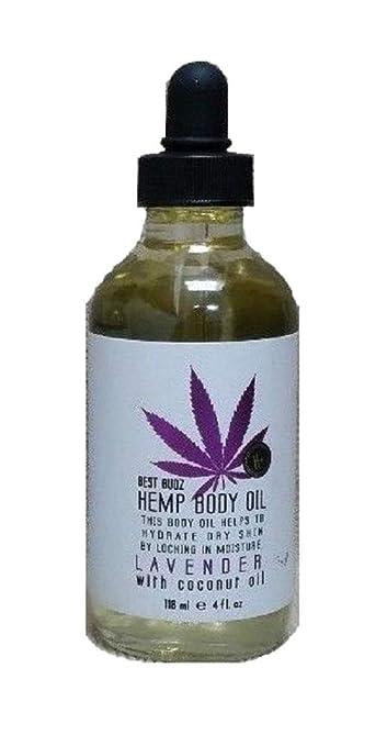 Best Budz Hemp Body Oil - Lavender with Coconut Oil - Helps to Hydrate Body  Skin By Locking in Moisture