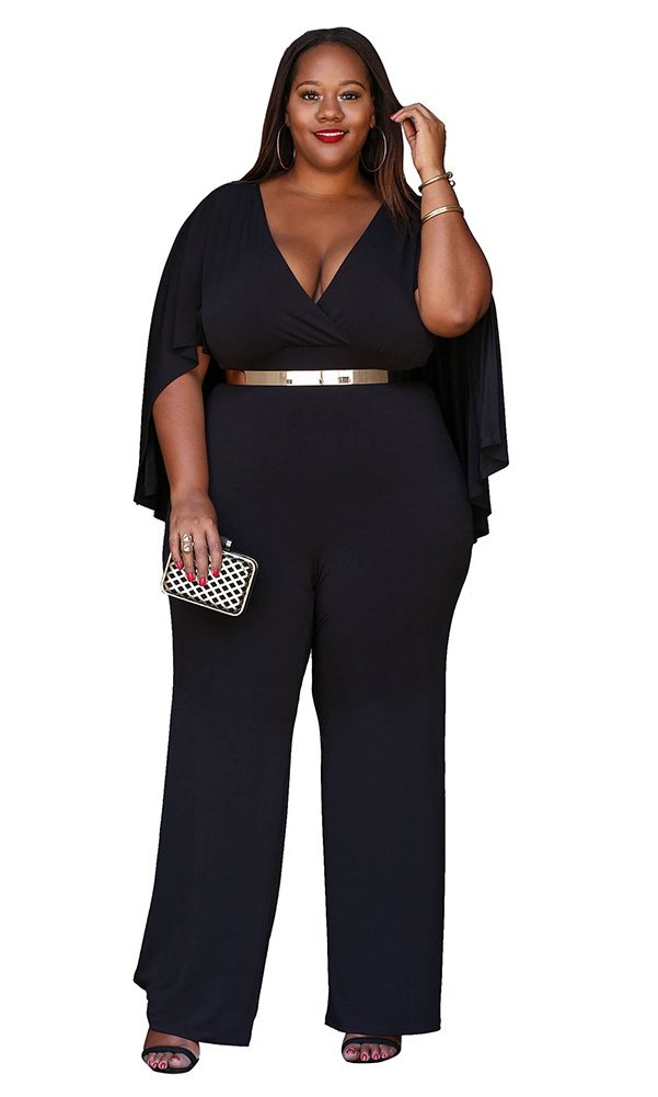 Women's Plus Size Jumpsuit with Attached Flowing Cape in Black
