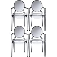 2xhome – Set of 4 Modern Ghost Chair Armchair with Arm Polycarbonate Plastic (Smoke)