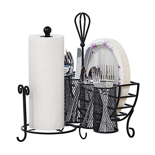 Gourmet Basics by Mikasa Avilla Picnic Plate Napkin and Flatware Storage Caddy with Paper Towel Holder, Complete Service…
