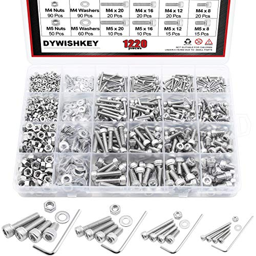 Size Bolt Socket - DYWISHKEY 1220 PCS M2 M3 M4 M5, 304 Stainless Steel Hex Socket Head Cap Bolts Screws Nuts Washers Assortment Kit with Hex Wrenches