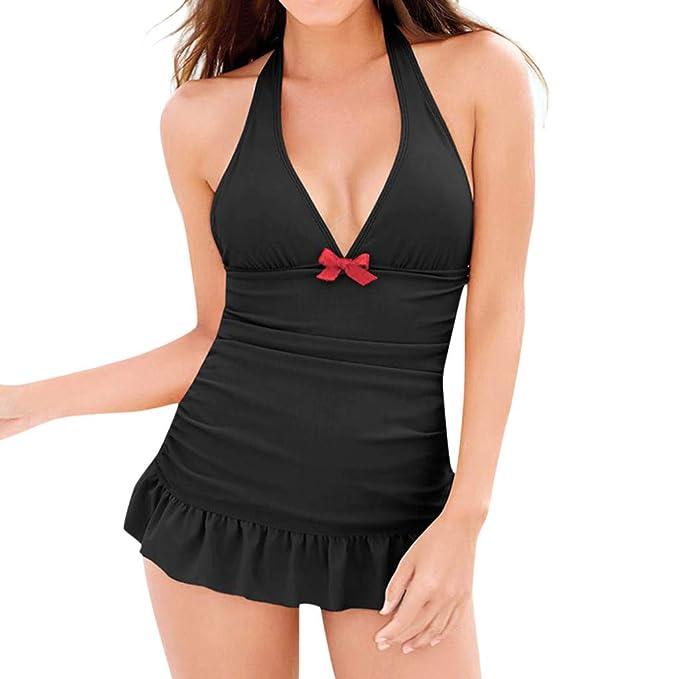 QinMMROPA Mujer Tankini Lunares Sexy Traje de Baño Falda Bikini ...