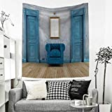 RuppertTextile Antique Tapestry Table Cover Bedspread Beach Towel Empty Room with Two Doors Armchair and Simple Mirror with Golden Color Frame Dorm Decor 54W x 72L INCH Blue Sand Brown
