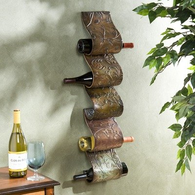 Tuscan Wall Decor IRON SCROLL Wine Bottle Rack Holder