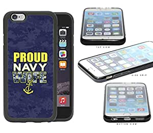 Proud Navy WIFE Navy Blue Camo Background iPhone 6 (4.7) INCH SCREEN Rubber Silicone TPU Cell Phone Case