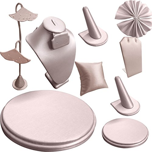 9 Piece Champagne Pink Leather Jewelry Display Set