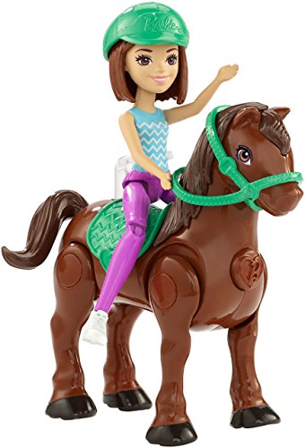 Mattel Barbie On The Go, Blue and Purple Outfit, Motorized Brown Pony With Green Saddle and Reins Go Go Pets Set