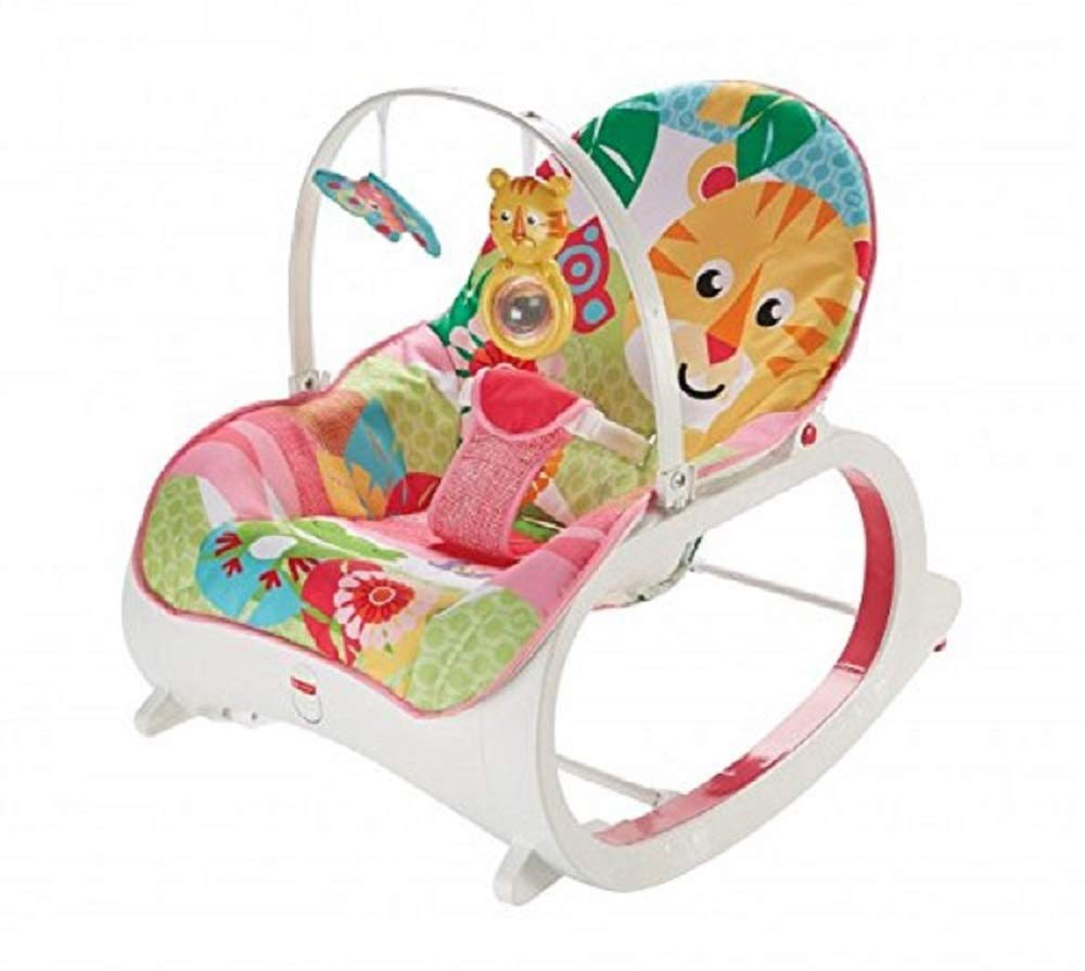 Fisher-Price Transat évolutif 2-en-1 transat bébé avec vibrations apaisantes et siège à bascule jeune enfant, jusqu'à 18kg, FMN41