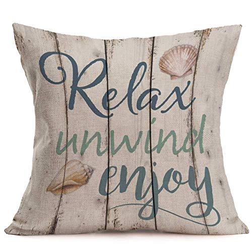 Smilyard Retro Wood Grain Throw Pillow Covers Quote Relax Unwind Enjoy Decorative Pillow Case Cotton Linen Shell Pattern Pillow Covers Decor Coastal Country for Home Sofa 18x18 Inch (WQ 05)