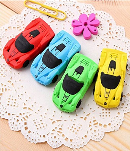 (Crazy Night 10 Pcs Racing Car shaped Eraser for Pupils Kids School Office Stationary Kits(Car))