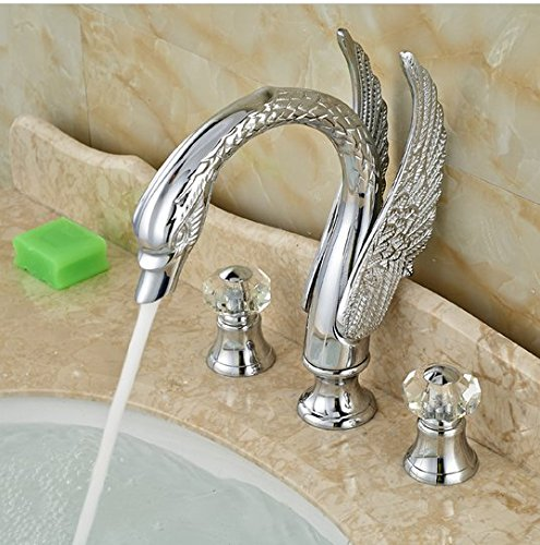GOWE Swan Style Deck Mount Bathroom Dual Handle Basin Sink Faucet Chrome Finished 3 Holes 2