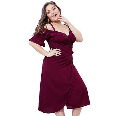 Vestidos de Mujer, Elegantes Tallas Grandes Vestido Verano Hombro ...