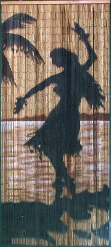 Hula Girl Silhouette Beaded Curtain 125 Strands (+hanging hardware) (Tropical Beaded Curtains)