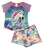 Girls' Horse Pajama Short Sleeve Sleep Top and short 2 piece pajama set – M (7/8)