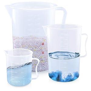 Kalevel Set of 3 Plastic Measuring Cup Lab Kitchen Large Beakers 500ml 2000ml 5000ml Measuring Jug for Measure Liquid Baking Item (C Set)