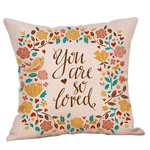"""Clearance Happy Valentine Pillow Cases,ZYooh Cute Love Printed Linen Throw Pillow Cases Sofa Cushion Cover Home Party Decor Pillow Cases 18"""" (H)"""