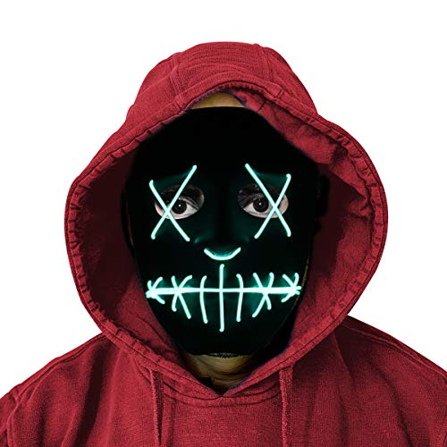 Glowing Creepy Mask - LED Purge Mask w/Elastic Band Adjustable Belt - Party Mask