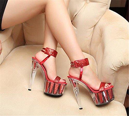 alla Glitter da GAOGENX di spillo alla cristallo Sandalo Taglia 41 Platform 35 Scarpe a Paillettes donna EU37 caviglia cinturino Club Tacco Party CZAgw