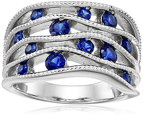 Sterling Silver Multi-Wave Row Created-Blue-Sapphire Ring, Size 6 6