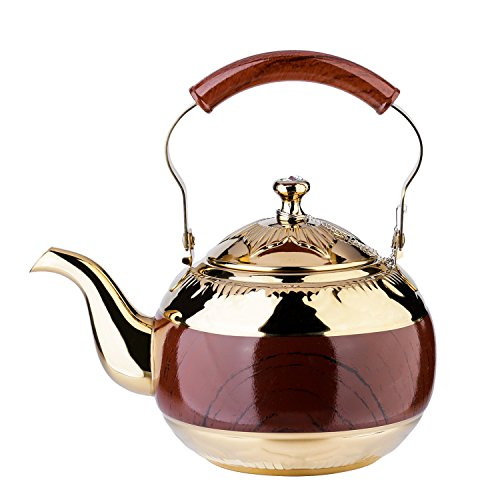 2 Liter Teapot Gold Pot with Infuser for Loose Tea Stainless Steel Coffee Kettle 8 Cup Induction Stovetop Tea Pot Strainer Office Hot Water Mirror Finish 68 Ounce by Onlycooker