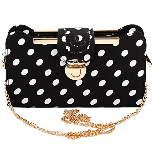 (Show Story Women's Girls Black White Polka Dots Design Fashion Outdoor Clutch Handbag Bag Purse,FB90018BK,Polka Dots)