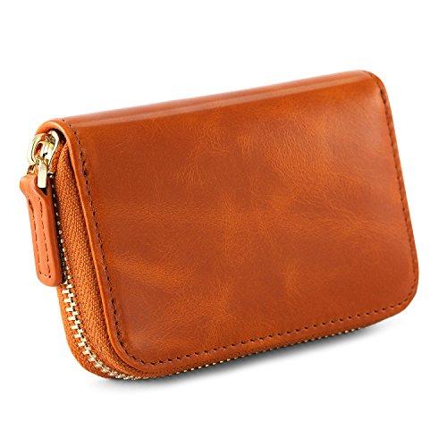 Kattee Leather Zip Around Wallet, Women's RFID Credit Card Small Wallet Brown by Kattee (Image #3)