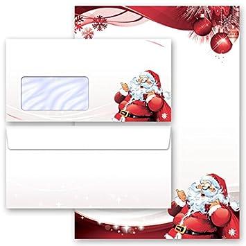 Papelería Navidad CARTA A PAPÁ NOEL 40 componentes (20 hojas estampadas + 20 sobres estampados DL, con ventanas)