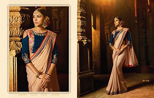 2814 indiano Sari hochzet Wear Women Tradizionale Ethnic Designer Bollywood New Party Originale 100 Skirt Georgette Wedding Ladies Saree Dress Designer Camicetta qFEwR0