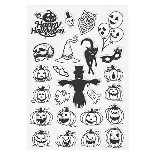 Scary Face Pumpkin Witch Halloween Silicone Clear Transparent