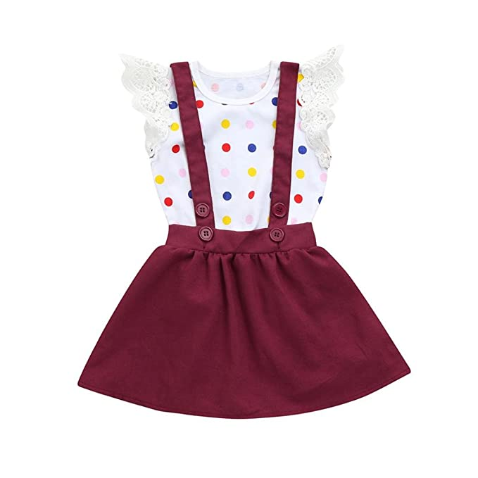 3a544254ca7 Amazon.com  Iuhan Infant Toddler Baby Girls Outfit 2Pcs Kids Dot Jumpsuit  Rompers Strap Skirt Set  Clothing