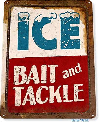 JFEB Metal tin Sign 7.8inch11.8inches TIN Sign Ice Bait Tackle Fish Fishing Marina Beach Lake House Cottage Cabin Metal Décor C010 ()