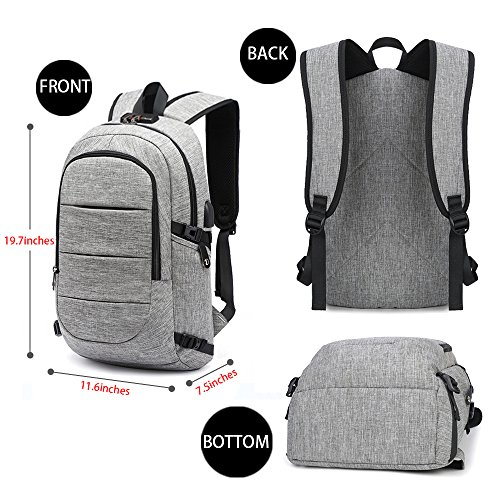 Large Product Image of Business Laptop Backpack, Anti Theft Waterproof Travel Backpack with USB Charging Port & Headphone interface for College Student,Fits Under 15.6-Inch Laptop Notebook by AMBOR