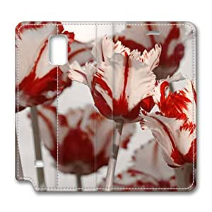 Brain114 Fashion Style Case Design Flip Folio PU Leather Cover Standup Cover Case with Parrot Tulips 2 Pattern Skin Iphone 4/4S