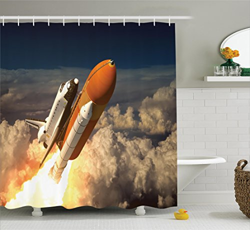 Space Scene - Ambesonne Outer Space Decor Collection, Space Shuttle In The Clouds Scene Historical Liftoff Enterprise Success Picture, Polyester Fabric Bathroom Shower Curtain Set with Hooks, Mustard White