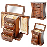 SortWise™ Handcrafted Wooden Jewelry Box Organizer Wood Armoire Cabinet Storage Chest, Brown